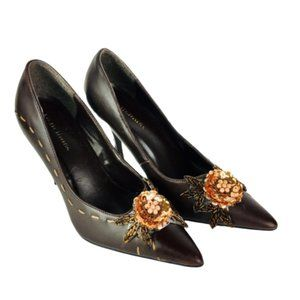 Delicious Brown Floral Appliqué Pointed Toe Pump